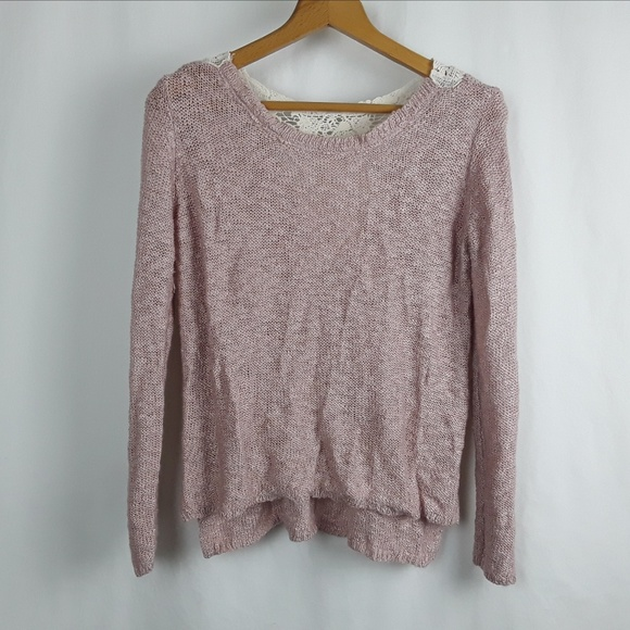 Pink Republic Tops - Festival Boho Chic Pink Moonstone Sweater w/ Lace